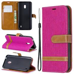 Jeans Cowboy Denim Leather Wallet Case for Nokia 2.2 - Rose