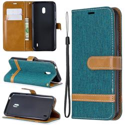 Jeans Cowboy Denim Leather Wallet Case for Nokia 2.2 - Green