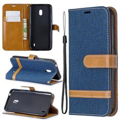 Jeans Cowboy Denim Leather Wallet Case for Nokia 2.2 - Dark Blue