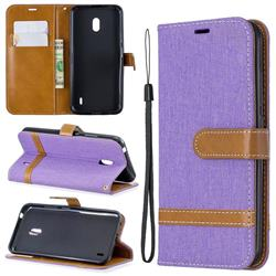Jeans Cowboy Denim Leather Wallet Case for Nokia 2.2 - Purple