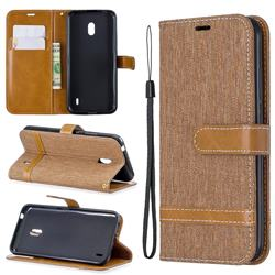 Jeans Cowboy Denim Leather Wallet Case for Nokia 2.2 - Brown