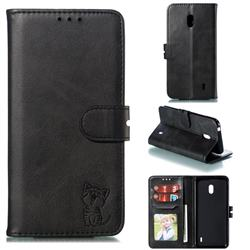 Embossing Happy Cat Leather Wallet Case for Nokia 2.2 - Black