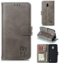 Embossing Happy Cat Leather Wallet Case for Nokia 2.2 - Gray