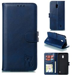Embossing Happy Cat Leather Wallet Case for Nokia 2.2 - Blue