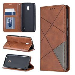 Prismatic Slim Magnetic Sucking Stitching Wallet Flip Cover for Nokia 2.2 - Brown