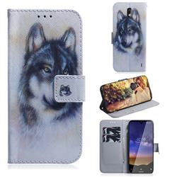 Snow Wolf PU Leather Wallet Case for Nokia 2.2