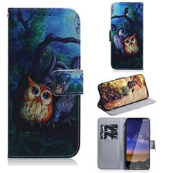 Oil Painting Owl PU Leather Wallet Case for Nokia 2.2
