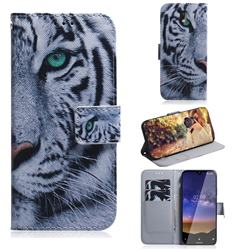 White Tiger PU Leather Wallet Case for Nokia 2.2