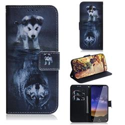 Wolf and Dog PU Leather Wallet Case for Nokia 2.2