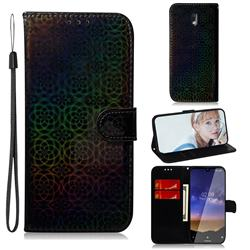 Laser Circle Shining Leather Wallet Phone Case for Nokia 2.2 - Black
