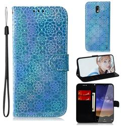 Laser Circle Shining Leather Wallet Phone Case for Nokia 2.2 - Blue