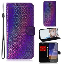 Laser Circle Shining Leather Wallet Phone Case for Nokia 2.2 - Purple