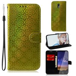 Laser Circle Shining Leather Wallet Phone Case for Nokia 2.2 - Golden