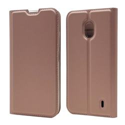 Ultra Slim Card Magnetic Automatic Suction Leather Wallet Case for Nokia 2.2 - Rose Gold
