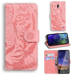 Intricate Embossing Tiger Face Leather Wallet Case for Nokia 2.2 - Pink
