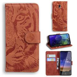 Intricate Embossing Tiger Face Leather Wallet Case for Nokia 2.2 - Brown