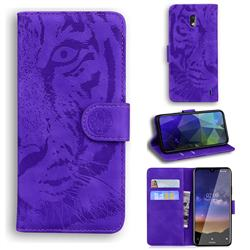 Intricate Embossing Tiger Face Leather Wallet Case for Nokia 2.2 - Purple