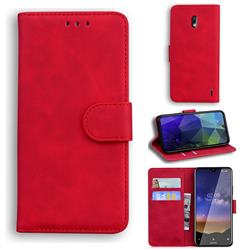 Retro Classic Skin Feel Leather Wallet Phone Case for Nokia 2.2 - Red