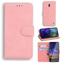Retro Classic Skin Feel Leather Wallet Phone Case for Nokia 2.2 - Pink