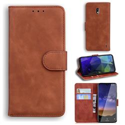 Retro Classic Skin Feel Leather Wallet Phone Case for Nokia 2.2 - Brown