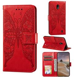 Intricate Embossing Rose Flower Butterfly Leather Wallet Case for Nokia 2.2 - Red