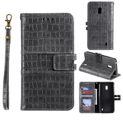 Luxury Crocodile Magnetic Leather Wallet Phone Case for Nokia 2.2 - Gray