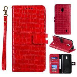 Luxury Crocodile Magnetic Leather Wallet Phone Case for Nokia 2.2 - Red