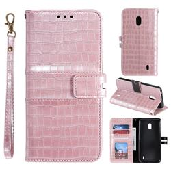 Luxury Crocodile Magnetic Leather Wallet Phone Case for Nokia 2.2 - Rose Gold