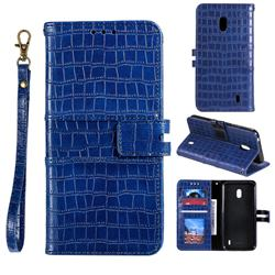 Luxury Crocodile Magnetic Leather Wallet Phone Case for Nokia 2.2 - Blue