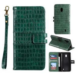 Luxury Crocodile Magnetic Leather Wallet Phone Case for Nokia 2.2 - Green