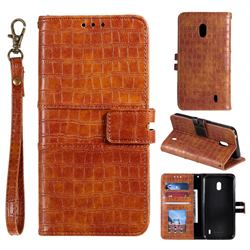 Luxury Crocodile Magnetic Leather Wallet Phone Case for Nokia 2.2 - Brown