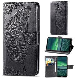 Embossing Mandala Flower Butterfly Leather Wallet Case for Nokia 2.3 - Black