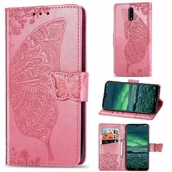 Embossing Mandala Flower Butterfly Leather Wallet Case for Nokia 2.3 - Pink