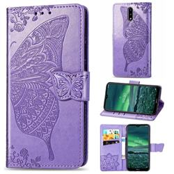 Embossing Mandala Flower Butterfly Leather Wallet Case for Nokia 2.3 - Light Purple