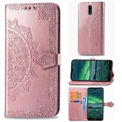 Embossing Imprint Mandala Flower Leather Wallet Case for Nokia 2.3 - Rose Gold