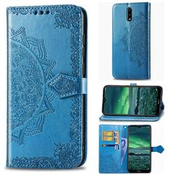 Embossing Imprint Mandala Flower Leather Wallet Case for Nokia 2.3 - Blue