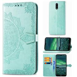 Embossing Imprint Mandala Flower Leather Wallet Case for Nokia 2.3 - Green