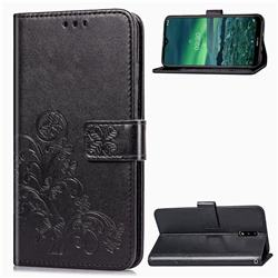 Embossing Imprint Four-Leaf Clover Leather Wallet Case for Nokia 2.3 - Black
