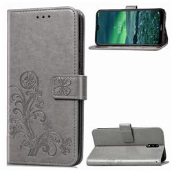 Embossing Imprint Four-Leaf Clover Leather Wallet Case for Nokia 2.3 - Grey
