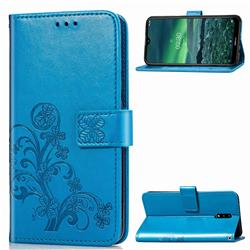 Embossing Imprint Four-Leaf Clover Leather Wallet Case for Nokia 2.3 - Blue