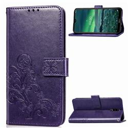 Embossing Imprint Four-Leaf Clover Leather Wallet Case for Nokia 2.3 - Purple