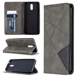 Prismatic Slim Magnetic Sucking Stitching Wallet Flip Cover for Nokia 2.3 - Gray
