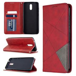 Prismatic Slim Magnetic Sucking Stitching Wallet Flip Cover for Nokia 2.3 - Red