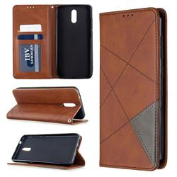 Prismatic Slim Magnetic Sucking Stitching Wallet Flip Cover for Nokia 2.3 - Brown
