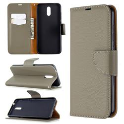 Classic Luxury Litchi Leather Phone Wallet Case for Nokia 2.3 - Gray