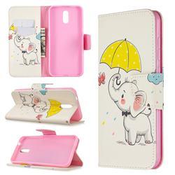 Umbrella Elephant Leather Wallet Case for Nokia 2.3