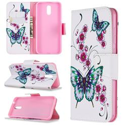 Peach Butterflies Leather Wallet Case for Nokia 2.3