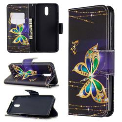 Golden Shining Butterfly Leather Wallet Case for Nokia 2.3