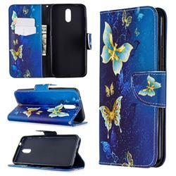 Golden Butterflies Leather Wallet Case for Nokia 2.3