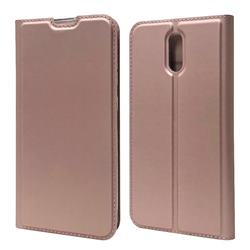 Ultra Slim Card Magnetic Automatic Suction Leather Wallet Case for Nokia 2.3 - Rose Gold